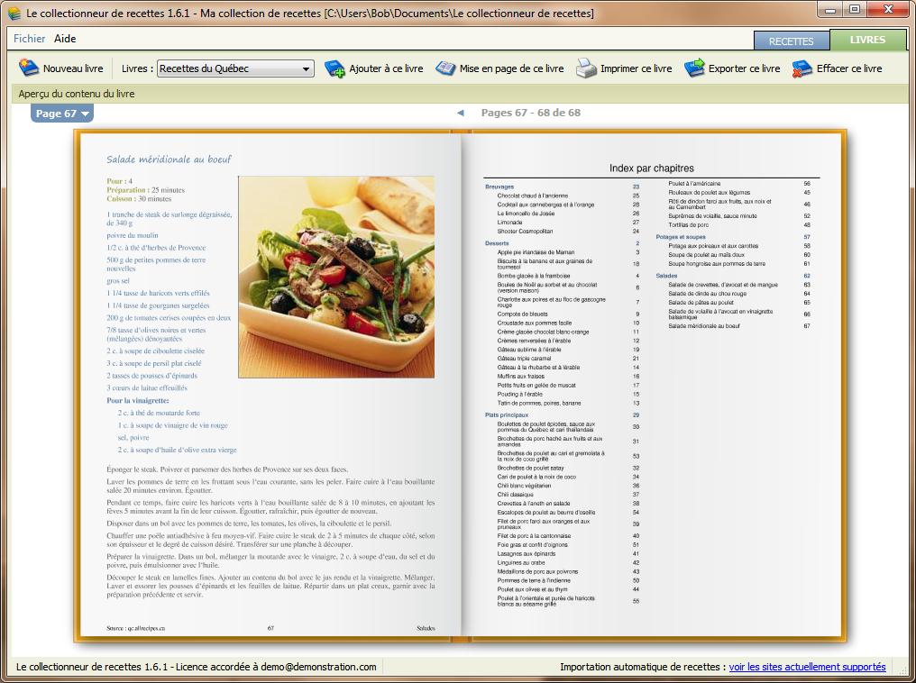 Le collectionneur de recettes logiciel de recettes et - Livre de cuisine vierge ...