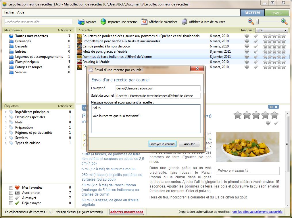 Section nouvelles logiciel le collectionneur de recettes - Logiciel gestion cuisine ...